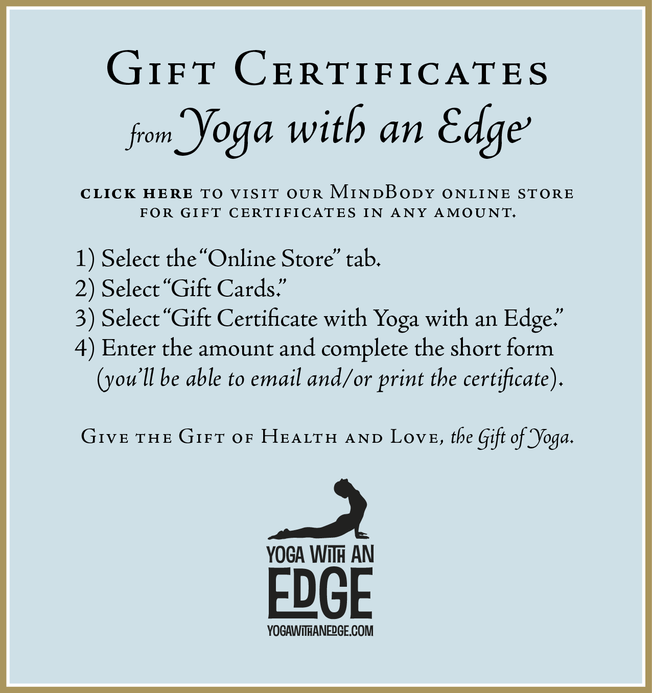 PURCHASEbutton-Gift Certificates - Yoga with an Edge
